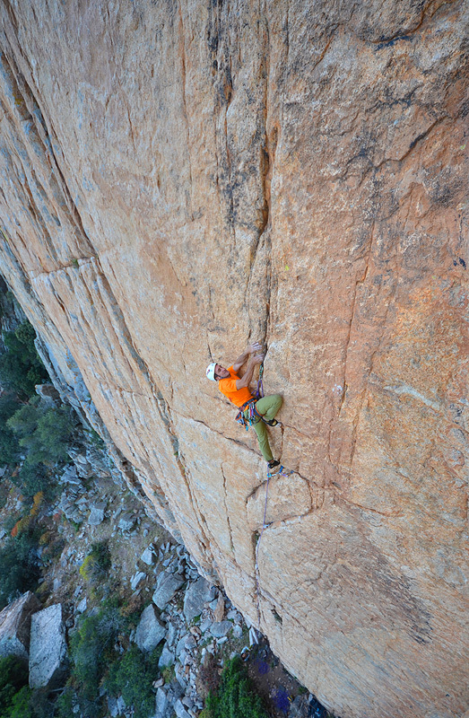 Maurizio Oviglia climbing Raptor (7b trad) at Jurassic Park, Sardinia, Sara Oviglia