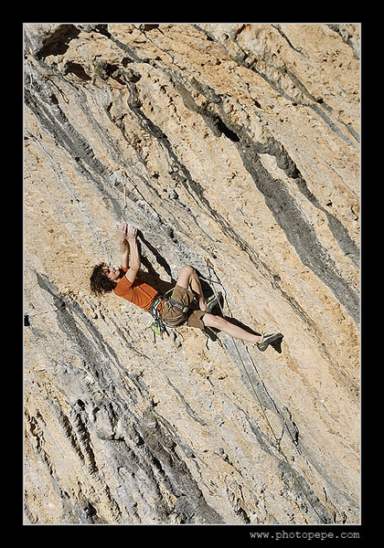 Adam Ondra on-sighting Digital System 8c, Santa Linya, Spain. www.photopepe.com, Petr Piechowicz