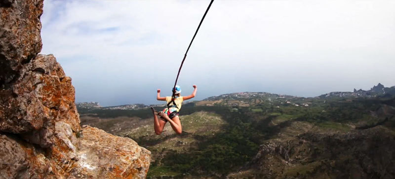 Rope jumping dalla Shaan-Kaya, Andrey Nefedov