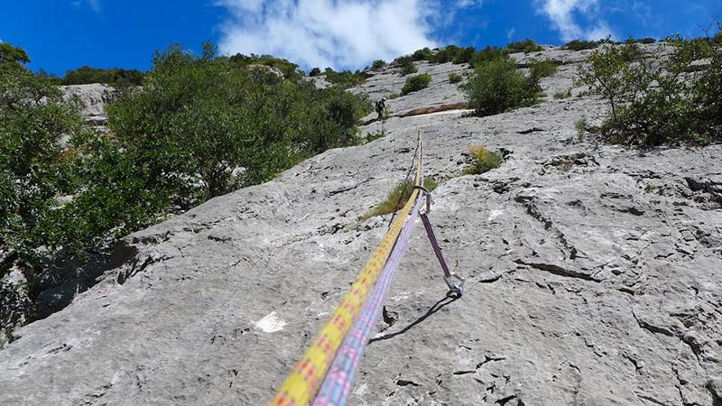 Los Compadres (325m, 5c+, Corrado Pibiri, Vincenzo Carcangiu 2013): Vincenzo alla S2, archivio Vincenzo Carcangiu