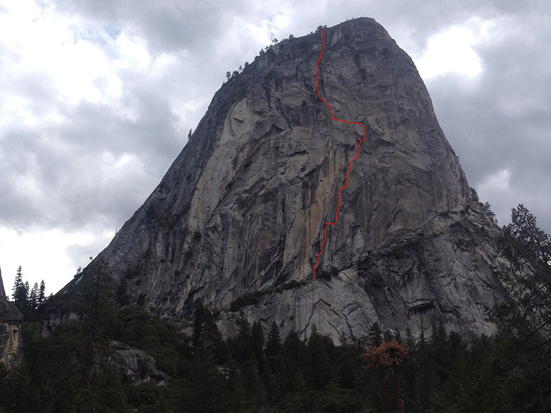 The route line of Mahtah, freed at the end of May 2013 by Cedar Wright and Lucho Rivera on Liberty Cap, Yosemite, USA., Cedar Wright
