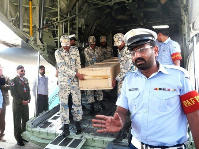 The arrival at Islamabad of the bodies of the victims of the Nanga Parbat Diamir Base Camp terrorist attack, courtesy thenews.com.pk