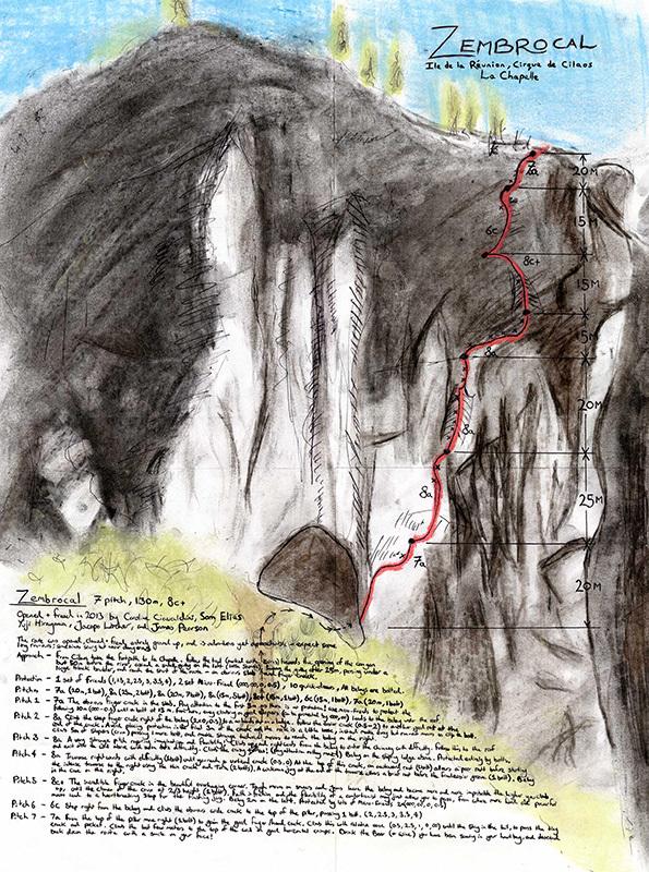 Zembrocal (8c+, 140m, Caroline Ciavaldini, Sam Elias, Yuji Hirayama, Jacopo Larcher, James Pearson 06/2013), Isola della Riunione