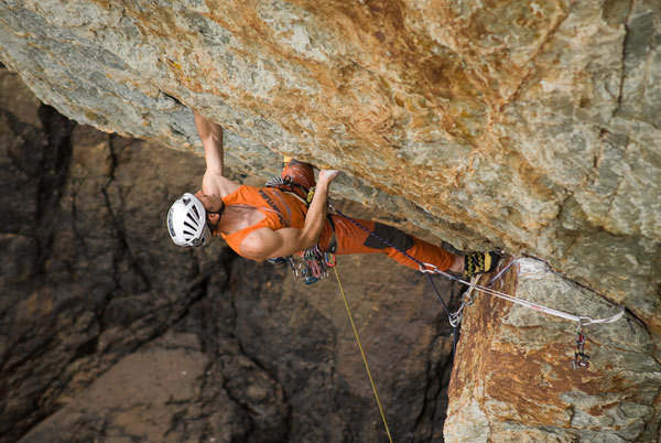 Rolando Larcher on-sighting The Jub Jub Bird E6 6b at Rhoscolyn, Gogarth, Wales, Adam Long