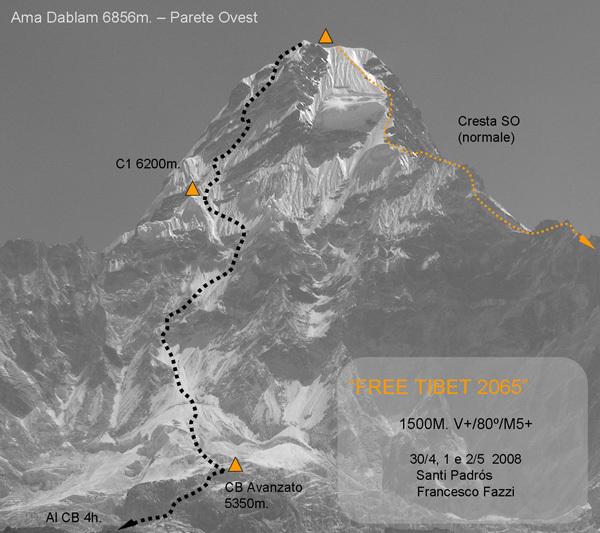 Free Tibet 2065 1500m/V+/80°/M5, Ama Dablam, Nepal., Arch. Francesco Fazzi
