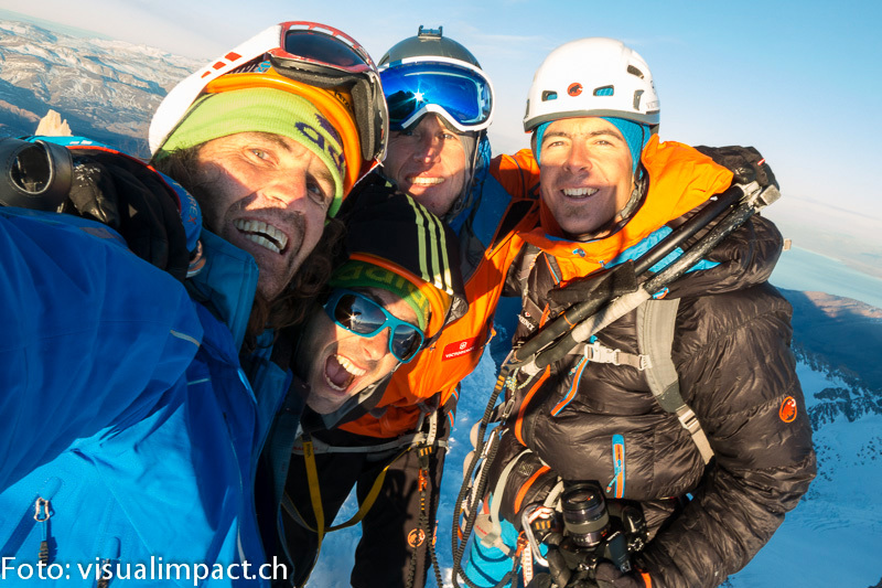 07/2013: Stephan Siegrist, Dani Arnold, Thomas Huber and Matias Villavicencio during the winter ascent of Cerro Torre, www.visualimpact.ch