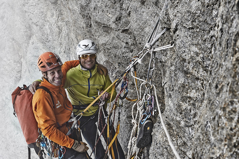Roger Schäli and Robert Jasper making the first free ascent of Piola - Ghilini Direttissima on the Eiger on 02/08/2013., Frank Kretschmann