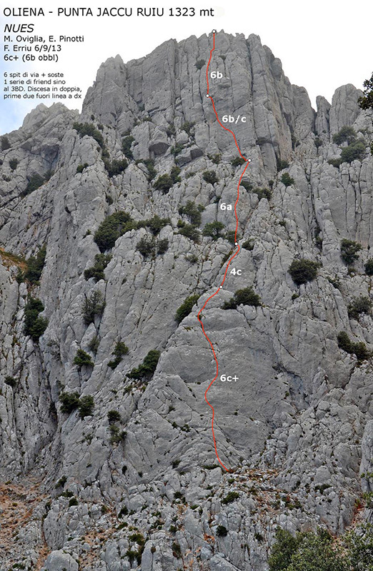 Via Nues, Punta Jaccu Ruiu, Oliena (190m, 6c+, Maurizio Oviglia, Eugenio Pinotti, Fabio Erriu 06/09/2013)., archivio Maurizio Oviglia