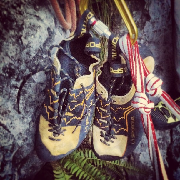 Jacopo Larcher's two left shoes, during his attempt on Des Kaisers neue Kleider, Wilder Kaiser, Austria, Jacopo Larcher