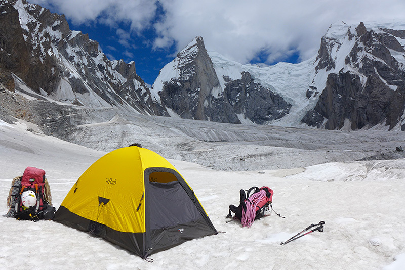 The glacier camp of Daniela Teixeira and Paulo Roxo in the Nangma Valley. Kapura is the obvious peak above the tent., Daniela Teixeira & Paulo Roxo