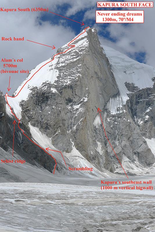 Never Ending Dreams (1300m, M4, 70°, Paulo Roxo, Daniela Teixeira 09/2013) Kapura South (6350m) Nangma Valley, Karakoram, Pakistan, Daniela Teixeira & Paulo Roxo