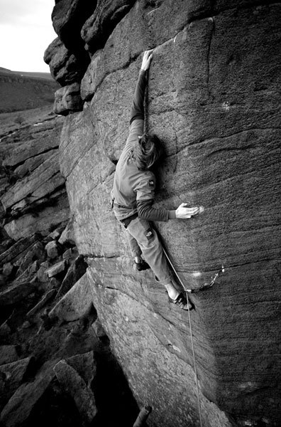 James Pearson making the first ascent of The Promise E10 7a at Burbage North in January 2007., David Simmonite