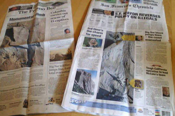 Massive main stream media coverage for Yuji Hirayama and Hans Florine after their record breaking speed ascent of The Nose on El Capitan, Yosemite in 2:43:33., Hirayama archive