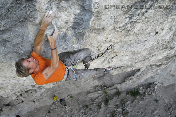 Andreas Bindhammer during the first ascent of Hades 9a at the Götterwand, Tyrol, Austria. , Christian Pfanzelt