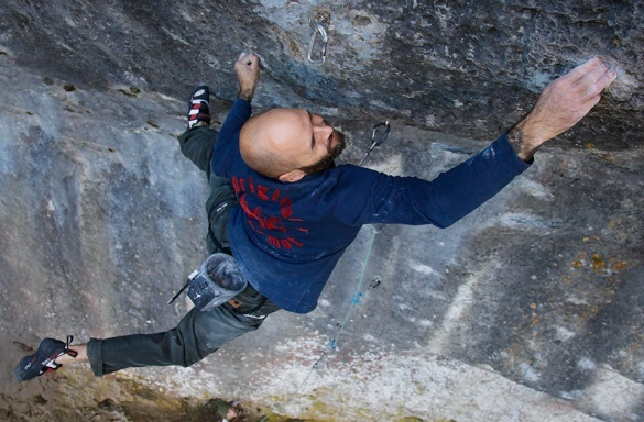 Markus Bock making the first ascent of Black Label 9a, Frankenjura, Germany