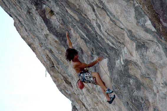 David Lama on-sighting Incantesimo 8a at Covolo, Italy, Jenny Lavarda