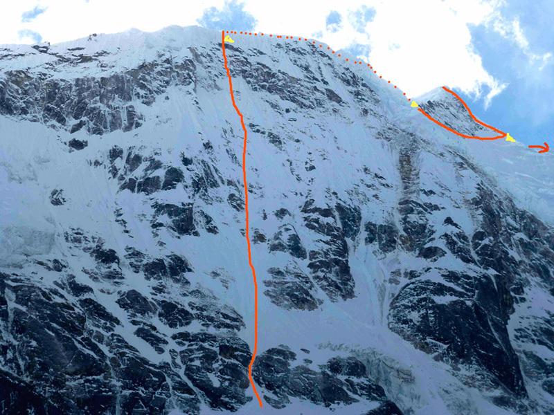 La linea di salita scelta da Ines Papert e Thomas Senf durante la prima salita del Likhu Chuli I, Nepal, Ines Papert