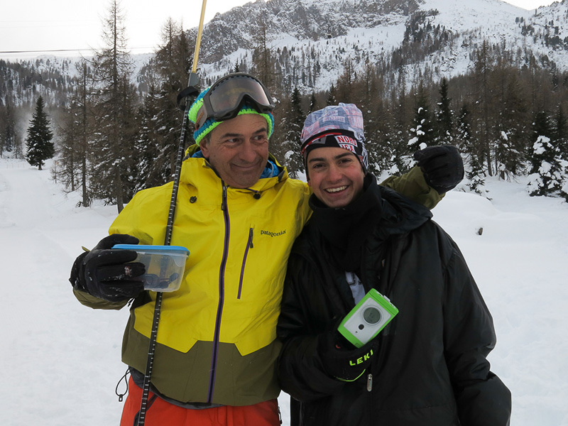 Progetto Icaro: Paolo Tassi and young skier during the first stage at Passo San Pellegrino on 30/11/2013, archivio Alberto Marazzi, Paolino Tassi, Fabrizio Deville