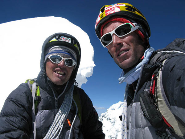 Simone Moro and Hervé Barmasse on the summit, arch. S. Moro - H. Barmasse