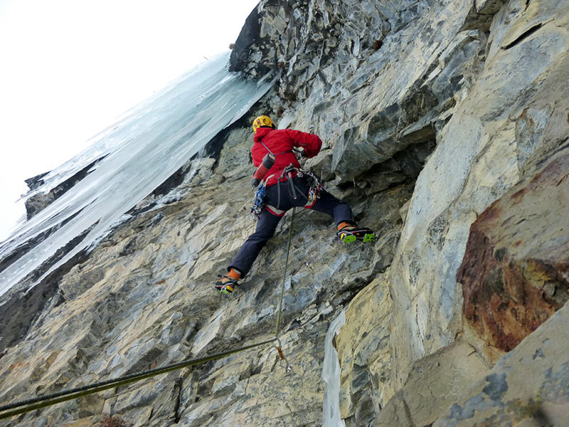 Giancarlo Bazzocchi making the first ascent of Il Clown, archivio E. Bonino