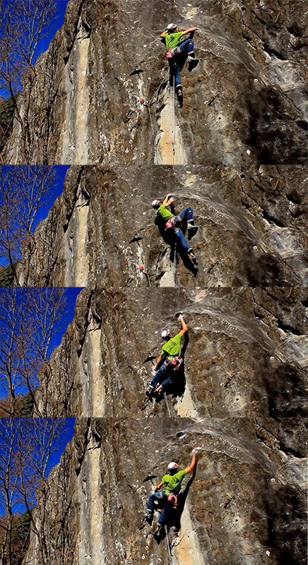 James Pearson making a ground-up repeat of Is not always Pasqua, the E9 trad freed in 2002 by Mauro Calibani at Collina di Interprete, Monti Sibillini, Italy, James Pearson archive