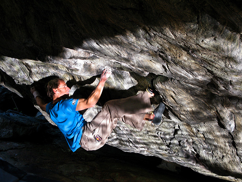 Bernd Zangerl climbing his Shantaram close to Trondheim in Norvegia., Radek Capek