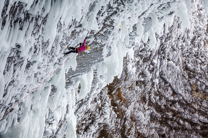 Angelika Rainer repeating Clash of the Titans WI10+ at Helmcken Falls, Canada, Klaus Dell'Orto / Berghaus