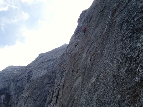 Jorg Verhoeven climbing the hollow flakes on David Lama on Desperation of the Northface, Zillertal Alps., Lama archive