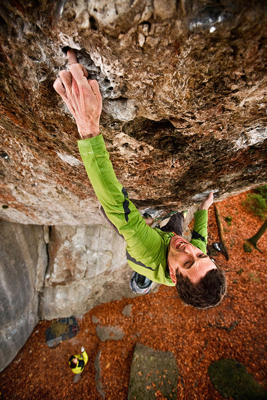 Patxi Usobiaga climbing Action Direct, 9a, Frankenjura, Germany, Bernardo Gimenez