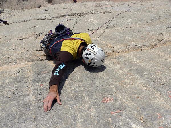 Nicola Tondini climbing his Perla preziosa, arch. N. Tondini