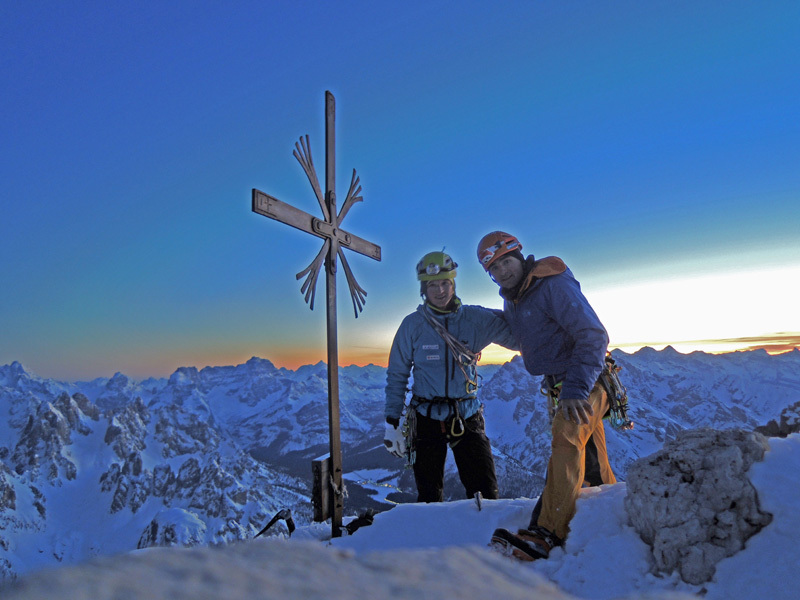 Ueli Steck & Michi Wohlleben on the summit of Cima Grande having climbed the Comici route, archive Wohlleben & Steck
