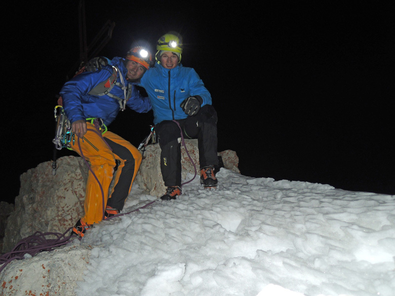 Ueli Steck & Michi Wohlleben: on the summit of Cima Piccola, archive Wohlleben & Steck