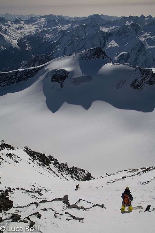 On 31/03/2014 Davide Capozzi and Julien Herry (snowboard) Luca Rolli (ski) descended the SE Face of Grivola, Gran Paradiso., Luca Rolli