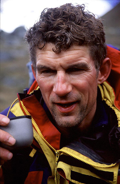 Pavle Kozjek after his solo first ascent of the route No fiesta hoy dia on the South face of Huandoy South, Cordillera Blanca, Peru, 2001. , Urban Golob