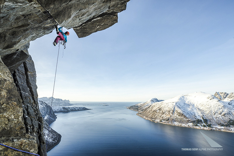 Ines Papert making the first ascent of Finnmonster (A2+, WI6 400m) on Senja Island, Norway, © visualimpact.ch | Thomas Senf