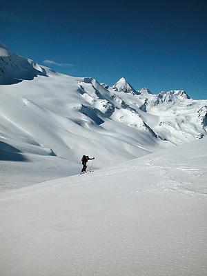 Il Cevedale e il Gran Zebrù salendo a Cima Marmotta, Francesco Piardi
