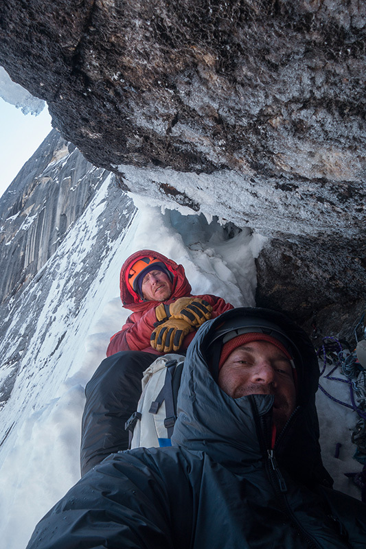 Ryan Jennings and Kevin Cooper making the first ascent of Stairway to Heaven (A1, M6, WI4, AI5+, X, 1200m, 01-04/05/2014) Mt. Johnson, Ruth Gorge, Alaska archive Ryan Jennings, Kevin Cooper