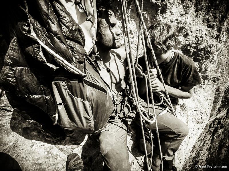 During the first ascent of Fly (8c, 550m Alexander Megos,Roger Schäli, Frank Kretschmann, David Hefti 04-08/2014), Lauterbrunnental, Switzerland., Frank Kretschmann / www.funst.de