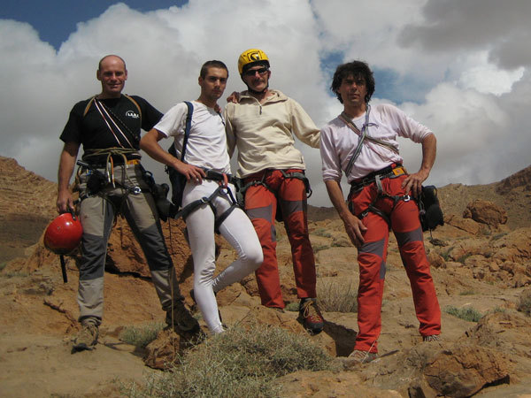 Leonardo Dagani, Mattia Buffin, Umberto Iavazzo and Mauro Florit at Taghia, Morocco., archivo Florit