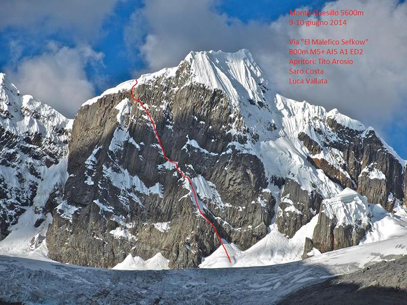 Monte Quesillio (5600m) e la via El malefico Sefkow di Tito Arosio, Saro Costa e Luca Vallata06/2014, archivio Tito Arosio