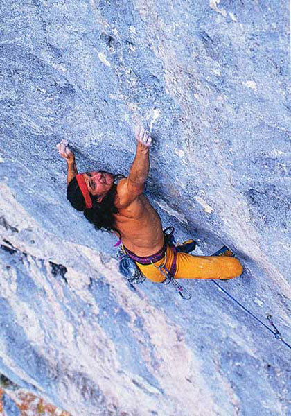 Alexander Huber in 1992 on the crux of Om 9a, Triangel, Austria., Heinz Zak