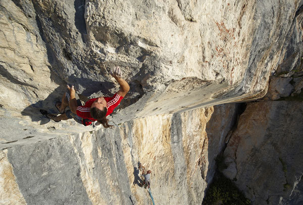Alexander Huber making the first ascent of Sansara 8b+, Grubhorn East Face, Austria  , Michale Meisl