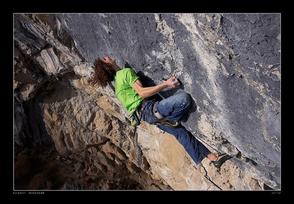 2008. Adam Ondra during the second ascent of Open Air, 9a+, Schleierwasserfall, Austria., Vojtech Vrzba