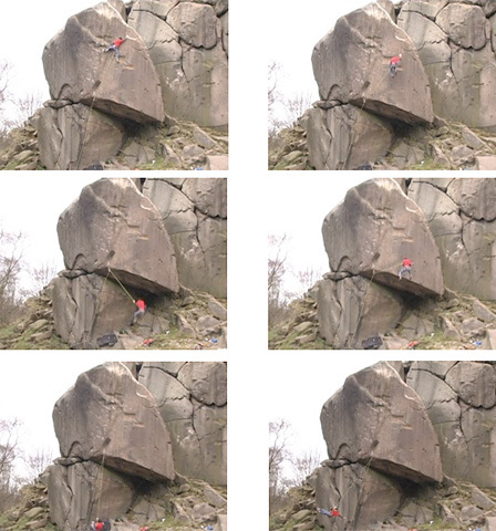 Kevin Jorgeson miraculously surviving a fall off Gaia E8 6c, Black Rocks, Peak Distict, England. The American climber then checked the moves on toprope and sent the route., Jorgeson archive