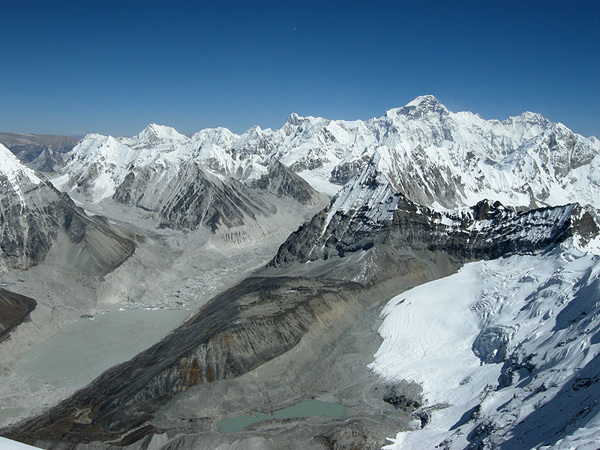 The view towards Cho Oyu and the Tibetan plateau from the West Ridge of Kang Nachugo, Himalaya, Joseph Puryear