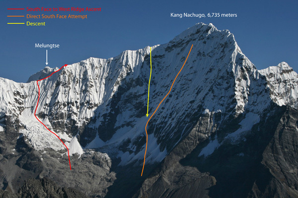 Kang Nachugo from the south showing the South Face attempt, the West Ridge ascent, and descent via the South Face., Joseph Puryear
