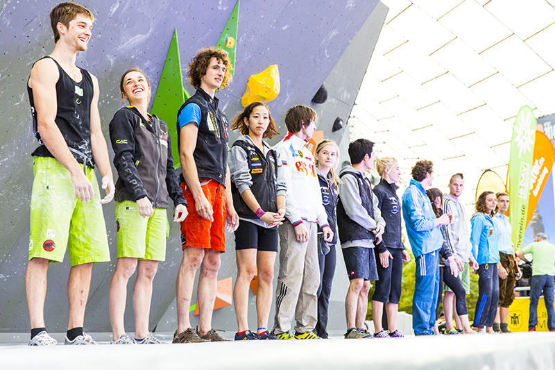 All the finalists: Jan Hojer, Juliane Wurm, Adam Ondra, Akiyo Noguchi, Dmitrii Sharafutdinov, Shauna Coxsey, Tsukuru Hori, Michaela Tracy, Guillaume Glairon Modet, Alex Puccio, Jernej Kruder, Melissa Le Neve