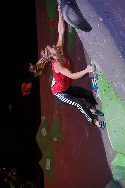 During the finals of the Bouldering World Championships 2014