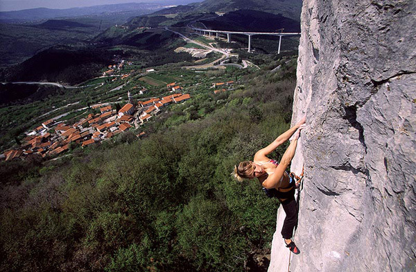 Natalija Gros getting to grips with the splendid limestone at Crni Kal, Istria, Slovenia., Urban Golob