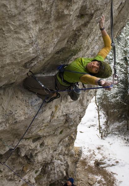 Barbara Raudner climbing her third 8c, Doubleoverhead at the Adlitzgräben in Austria., Claudia Ziegler